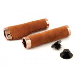 Chwyty kierownicy CLARK'S CLO221 LOCK-ON 134mm zamszowe brązowe, klamry anodyzowane