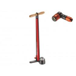 Pompka podłogowa LEZYNE STEEL FLOOR DRIVE ABS2 220psi czerwona
