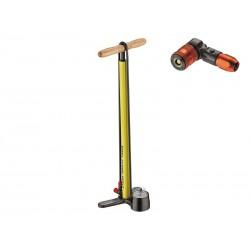 Pompka podłogowa LEZYNE STEEL FLOOR DRIVE ABS2 220psi żółta
