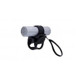 Lampka przednia FUTURA WATER 9 + baterie aluminium srebrna